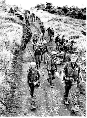 July 20, 1965     In one of their most complex military operations of the war to date, 12 ARVN battalions and the Vietnamese Marines, assisted by B-52 air strikes, open the road from Qui Nhon to Pleiku for the movement of essential civilian and military cargo. The supplies are badly needed to relieve the shortages in the highland area caused by VC interdiction of routes.