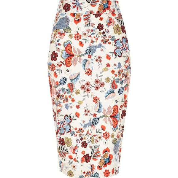 River Island Cream belted pencil skirt ($46) ❤ liked on Polyvore featuring skirts, white floral skirt, pencil skirt, flower print skirt, white knee length skirt and floral skirt