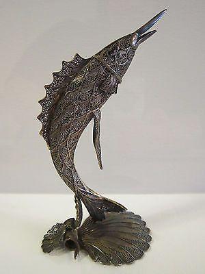 Antique Rare Silver Filigree Swordfish Fish Shell Figurine Tower Sculpture