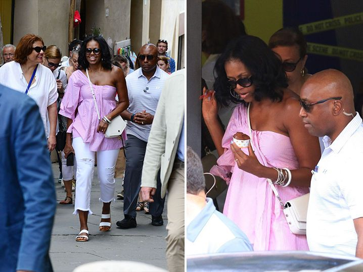 Michelle Obama was looking good in pink while sightseeing in Italy.