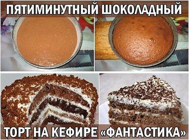 Шоколадный торт на кефире+ 15 вариантов заварного крема