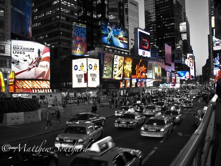 Bright lights of time square new york city