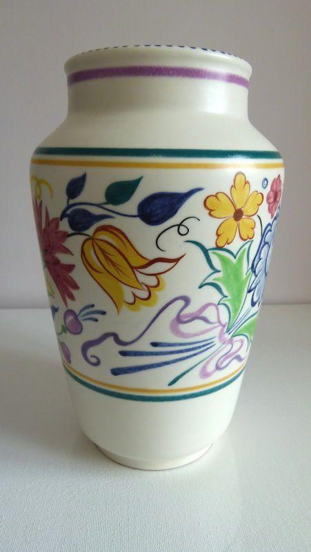 """Vintage 1950's Poole Pottery Floral no. 595 - 9"""" Vase - BN Pattern/Gwen Haskins"""