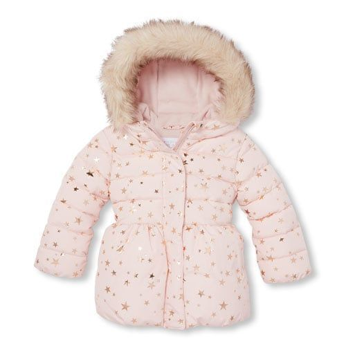 55427267263 Baby And Toddler Girls Foil Star Print Faux Fur Hooded Puffer Jacket ...