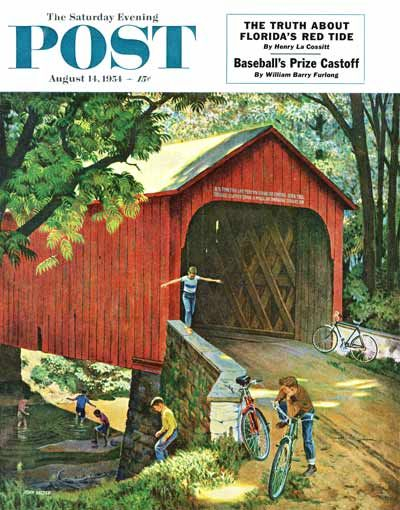 """""""Covered Bridge,"""" from The Saturday Evening Post, Aug. 14, 1954, by John Falter."""