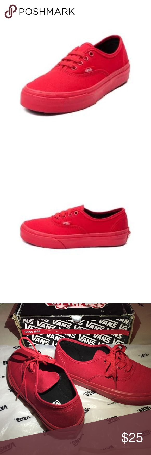 All Red VANS ✨⛄️SAME DAY SHIP- if purchased before 1:00pm Mountain time☃✨ Authentic All Red Vans! Journeys Only. Size 3kids but fits 5.5-6 Woman's. These run a little big. I usually wear a 4-4.5Kids and these fit a little loose. Worn Twice. In excellent condition. Have original box that just sit in my closet. Plz ask any questions. Vans Shoes Sneakers