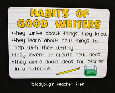 anchor charts: Language Art, Anchor Charts, Writing Anchors Charts, Ladybug Teacher Files, Ladybugs Teacher File, Writing Posters, Customiz Charts, Writers Workshop, Writing Habits