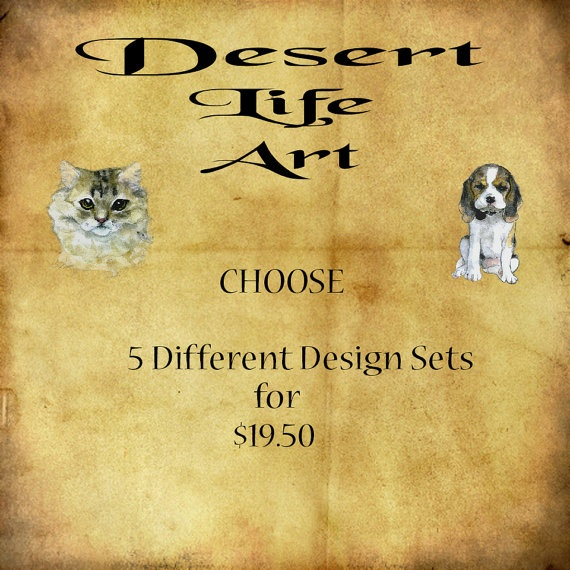 DISCOUNT BUNDLE  Choose 5 Different Designs Sets by DesertLifeArt, $19.50