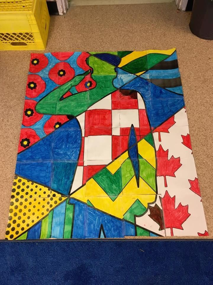 Unique Remembrance Day activity for students and teachers. Collaboration soldier art project poster.
