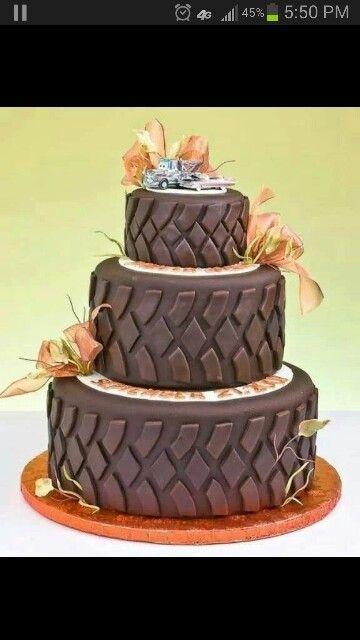 Cute tires cake for men's birthday