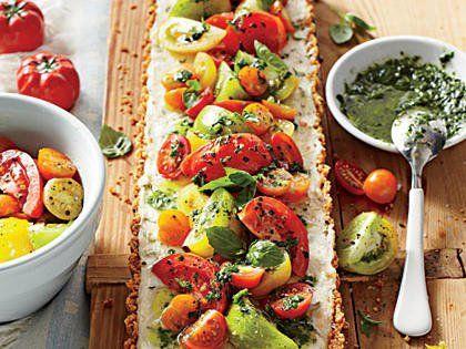 Tomato-Goat Cheese Tart with Lemon-Basil Vinaigrette