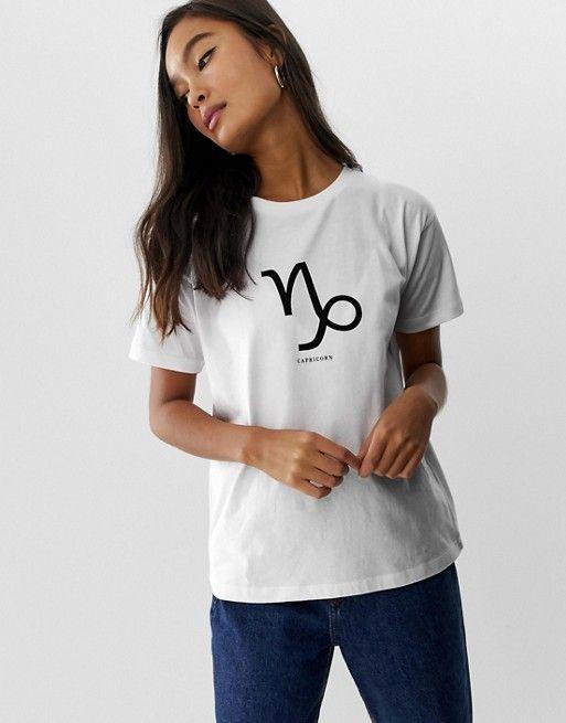 060f2208 ASOS DESIGN | ASOS DESIGN t-shirt with capricorn aquarius pisces aries  starsign print