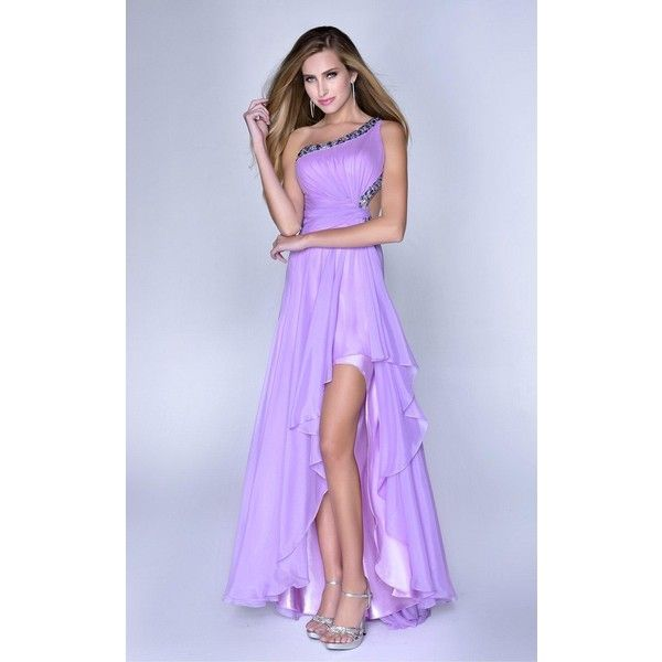 Nina Canacci 2026 Wedding Guest Dress High-Low Asymmetrical Sleeveless ($338) ❤ liked on Polyvore featuring dresses, formal dresses, lavender, prom dresses, glitter prom dresses, formal prom dresses, one shoulder prom dresses and high low homecoming dresses