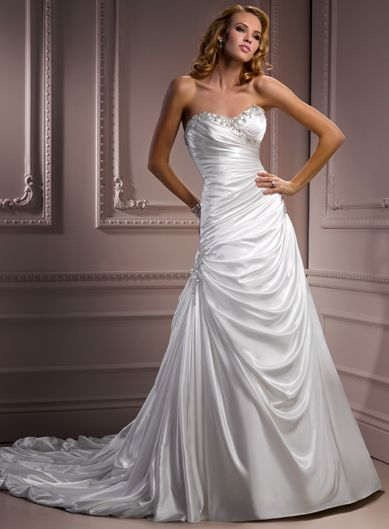 A-line Sweetheart Chapel Train Charming Satin wedding dress,wedding dresses with prices,wedding dresses with prices,wedding dresses with prices
