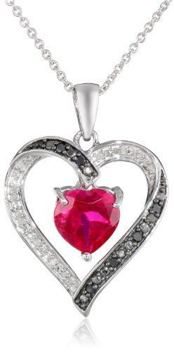 53 best diamond heart necklace images on pinterest black sterling silver heart shape created ruby black and white diamond heart pendant necklace 18 mozeypictures Gallery