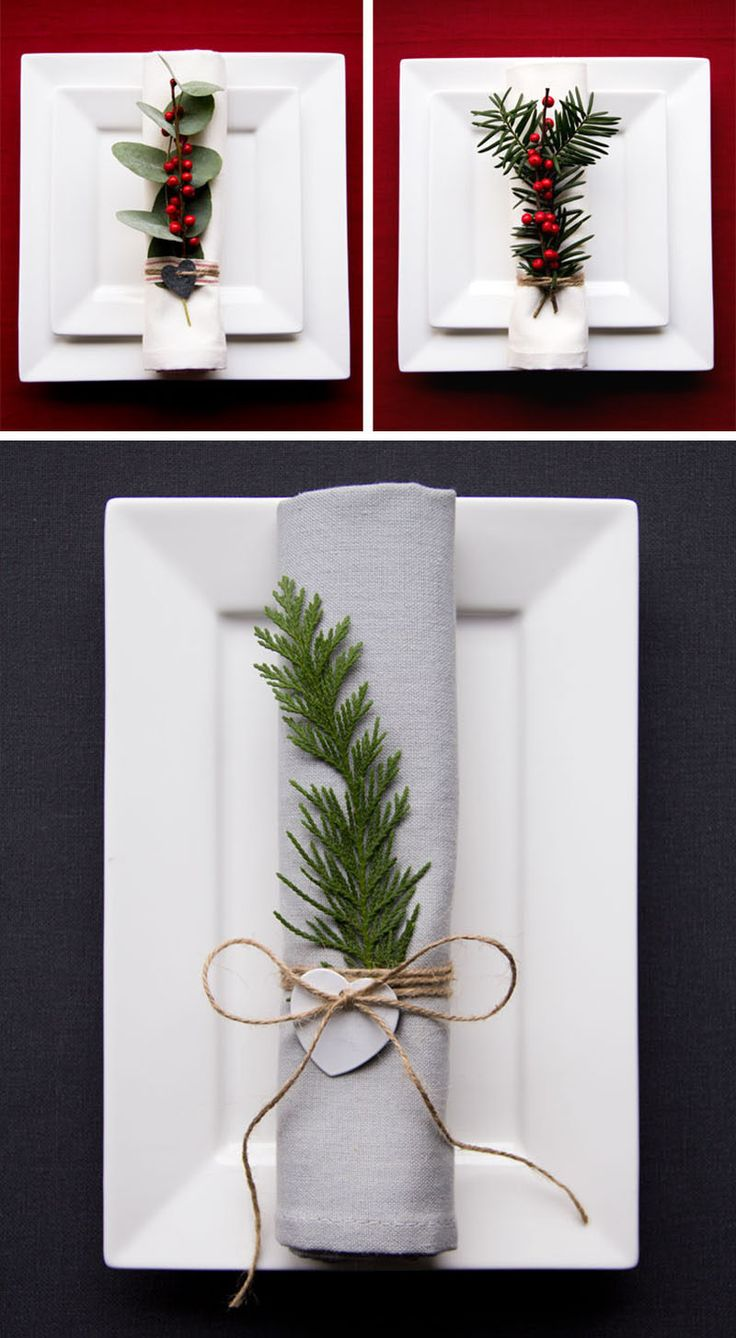 Natural greenery and berries on each napkin ----  15 Inspirational Ideas For Creating A Modern Christmas Table Full Of Natural Elements