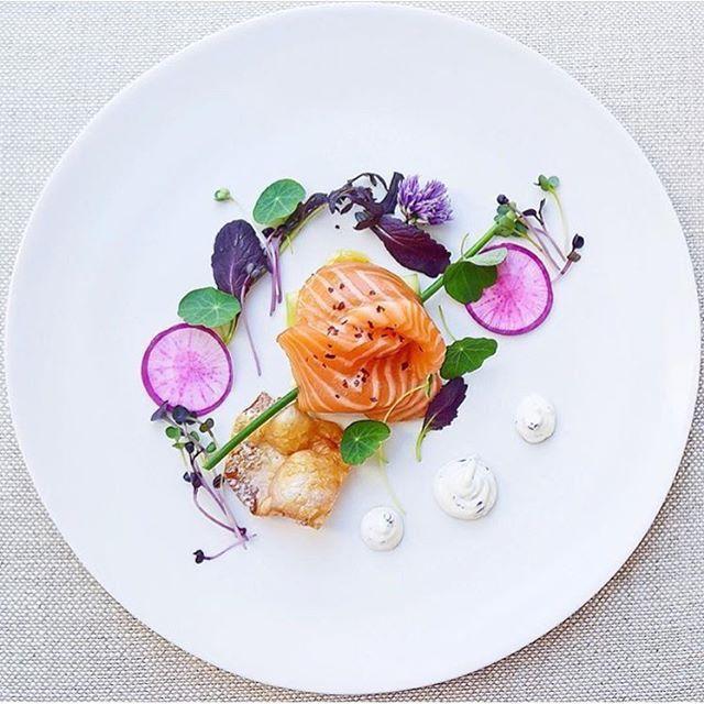 Salmon crudo lemon chive chili EVOO pressed Persian cucumber ribbons roasted salmon crackling pickled purple radish Nasturium by @gayleq