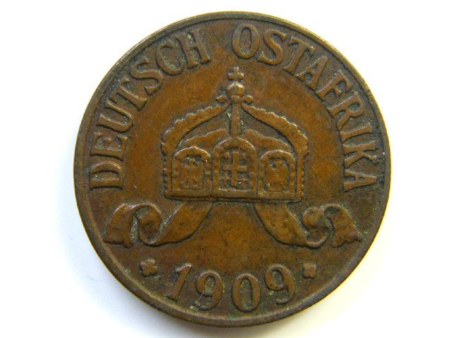 GERMAN  EAST AFRICA 1 HELLER 1909  COIN  J277  german east africa , colonial coin