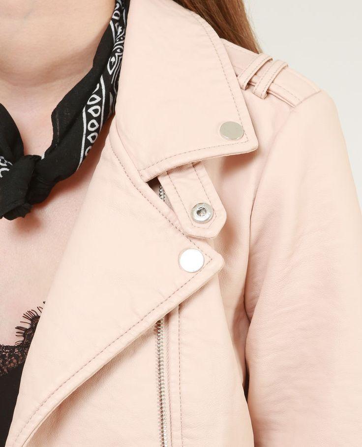 Blouson simili cuir rose fille
