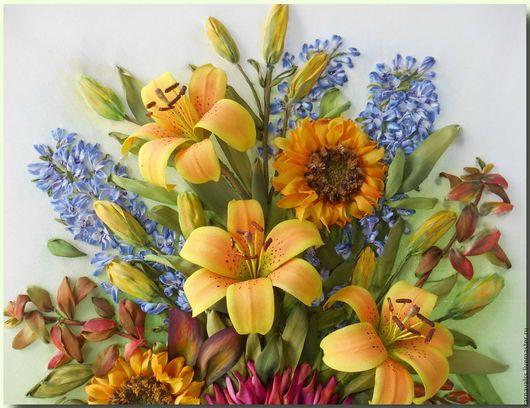Картины цветов ручной работы. Букет: Желтые лилии, подсолнухи , дельфиниум. Светлана Соколова(Шупляк) (carnavalss). Ярмарка Мастеров. Картина в подарок