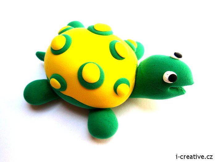 Turtle from modeling clay / Želva ze na vzduchu tvrdnoucí modelovací hmoty
