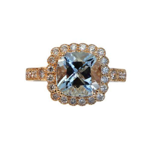 Aquamarine ring, 14k rose gold set with cushion cut aquamarine 2.45ct and diamonds 0.50cttw.