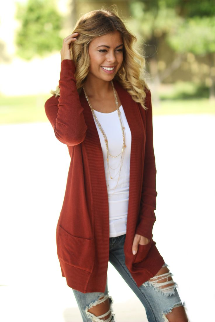 Best 25  Rust cardigan ideas on Pinterest | Orange cardigan, Burnt ...