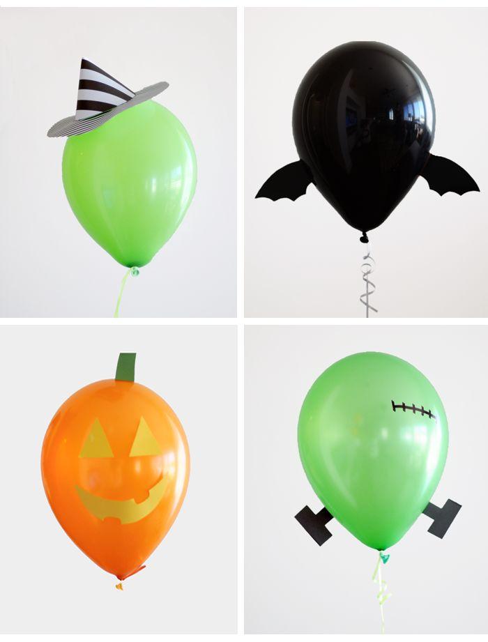 Un pequeño detalle convierte un simple globo en la decoración perfecta para una fiesta de brujas #halloween