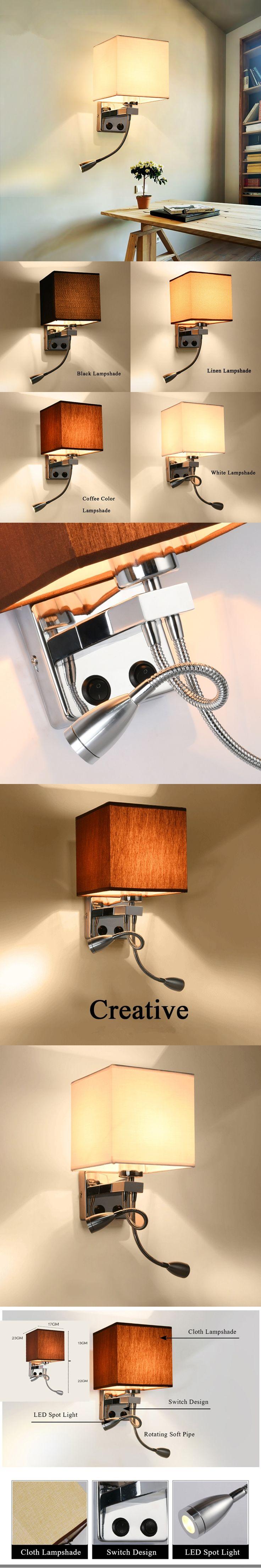 Modern Wall Lamp Fabric Lampshade Bedroom Bedside Wall Sconce Flexible Reading Light Fixture Aisle Wall Mount Lighting arandela