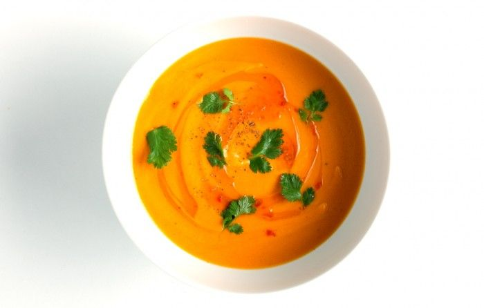 Carrot-Coconut Soup - Bon Appétit [use immersion blender, skip transfer to clean saucepan, thin with stock?]