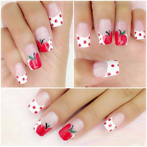 ongles déco pomme rouge