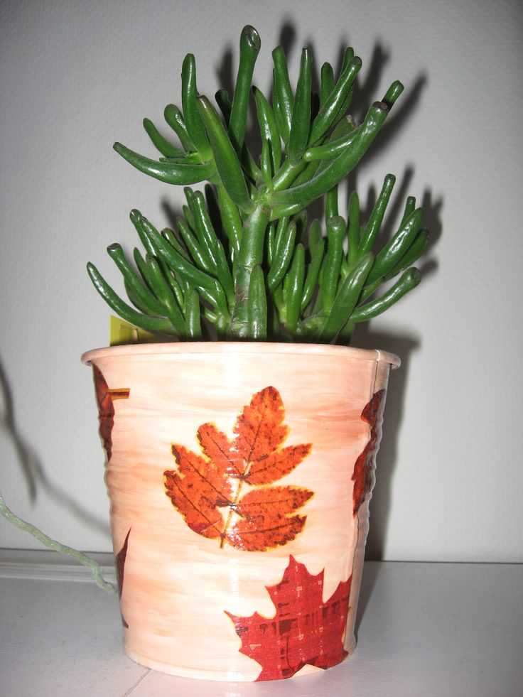 vaso metallo ikea decoupato con tovagliolo