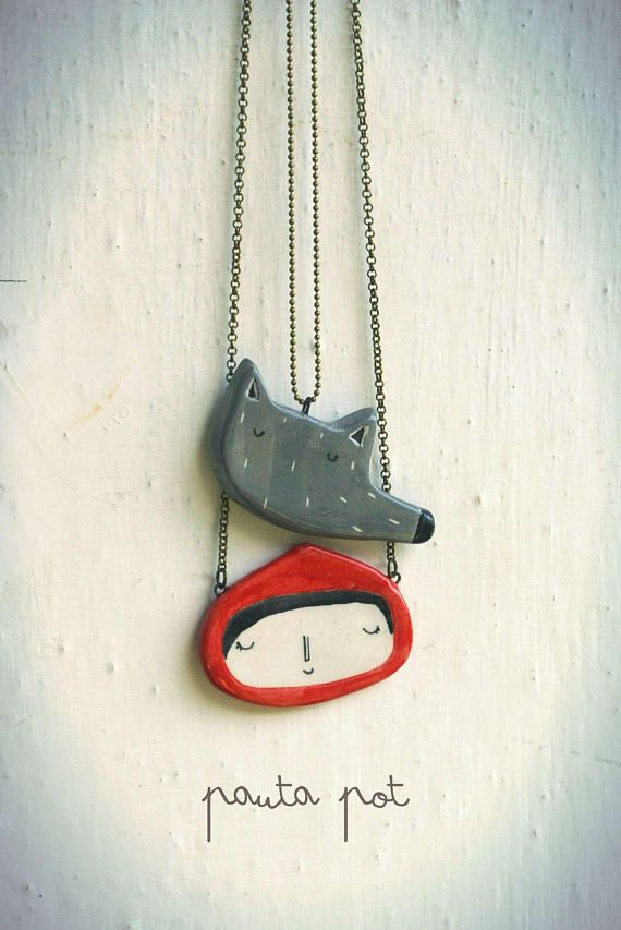 Necklace with Wolf in ceramic