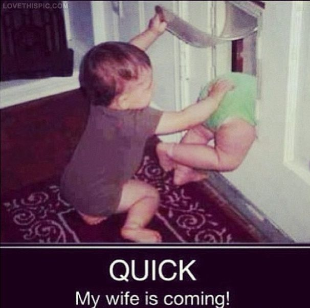 Quick My Wife Is Coming funny quotes cute babies funny quote humor
