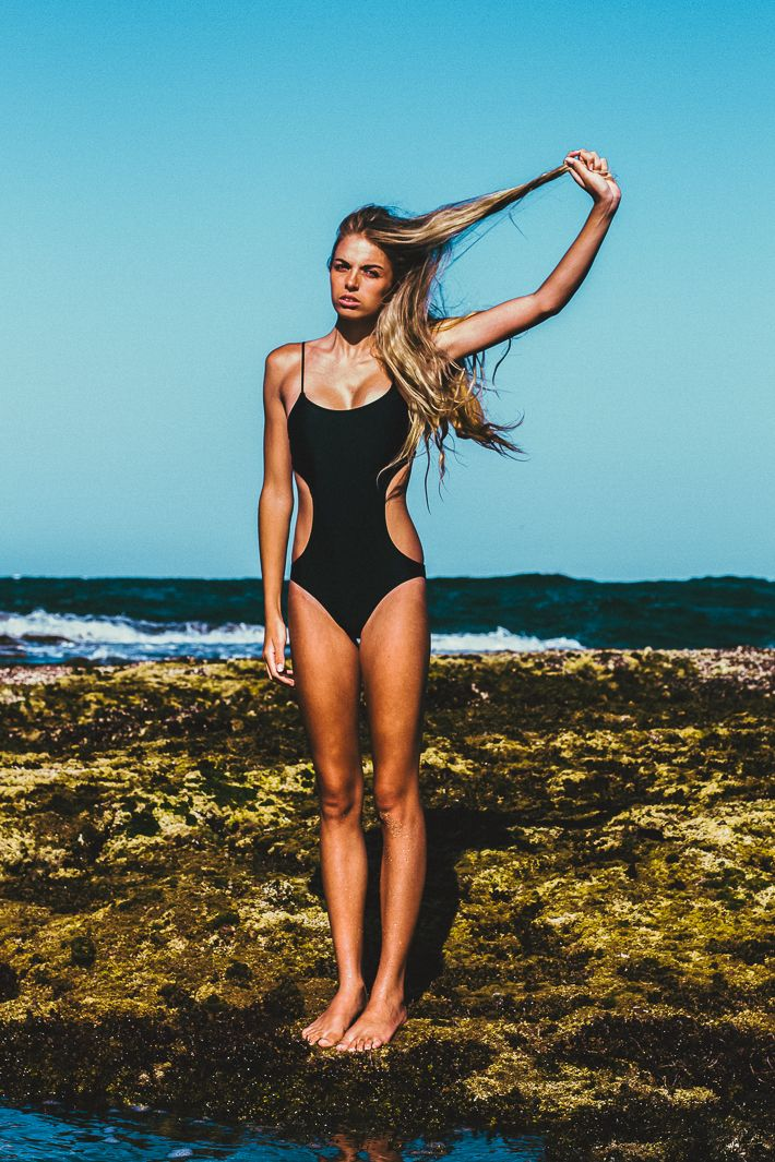 Black one piece with cutouts