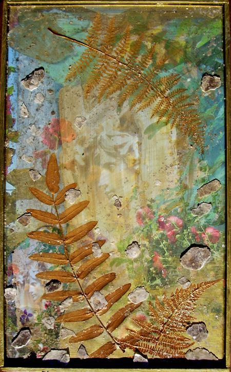 Artist photographer Holly Alderman, Photoshop printed on satin, with ferns and mica collage and painting in golds and irridescents, 14 x 18 inches, images of Amor Caritas golden relief statue by Augustus Saint-Gaudens in Cornish NH