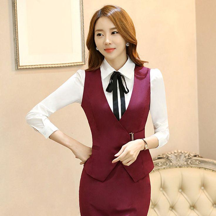 Женская мода жилет элегантная дама равномерной работы бизнес офис формальный жилет весна осень женский clothing топы купить на AliExpress