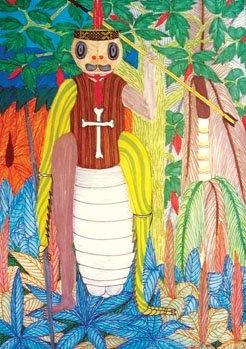 Enrique Casanto. Pintura sobre papel. (Ashaninka). Shevancaro (Cucaracha) fue un guerrero muy malo que carcomía a los heridos en los pies, para que no caminaran y carcomía en las manos para que no pudieran agarrar las flechas. Este guerrero era adivino y se convertía en cucaracha, para despistar.