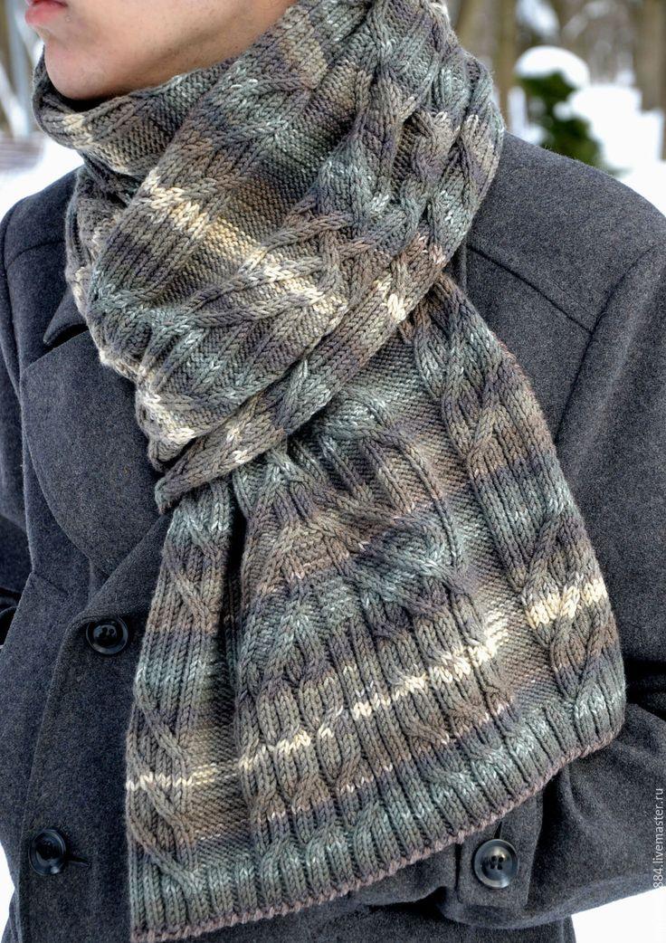 """Купить Мужской вязаный шарф из шерсти """" Ваш шарф, Сэр"""" - купить мужской шарф"""