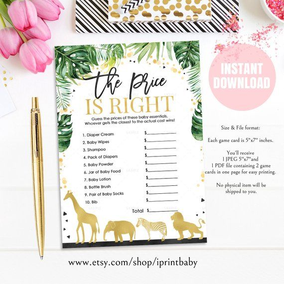 Safari Jungle Birthday  Instant download printable 8 Giraffe Baby Shower Games Bundle Package Baby Shower Bingo The Price Is Right