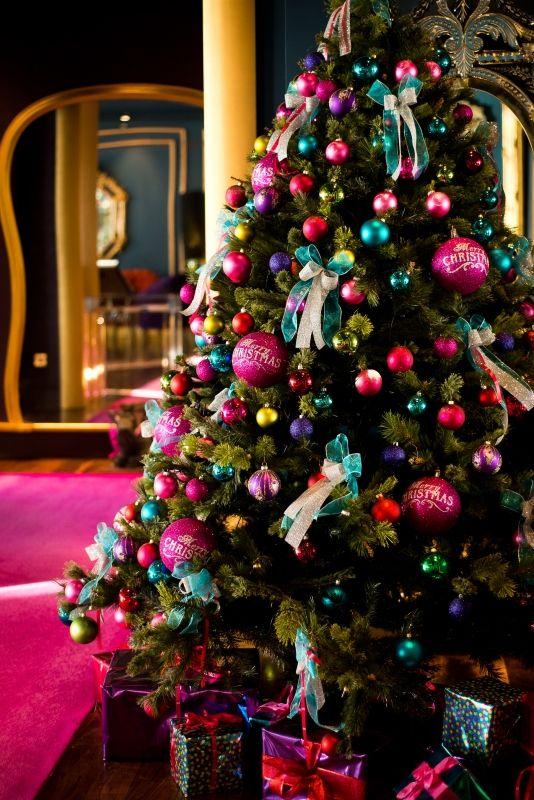 Colourful Christmas tree outside 2 AA culinary rosette Restaurant gigi's www.theghotel.ie