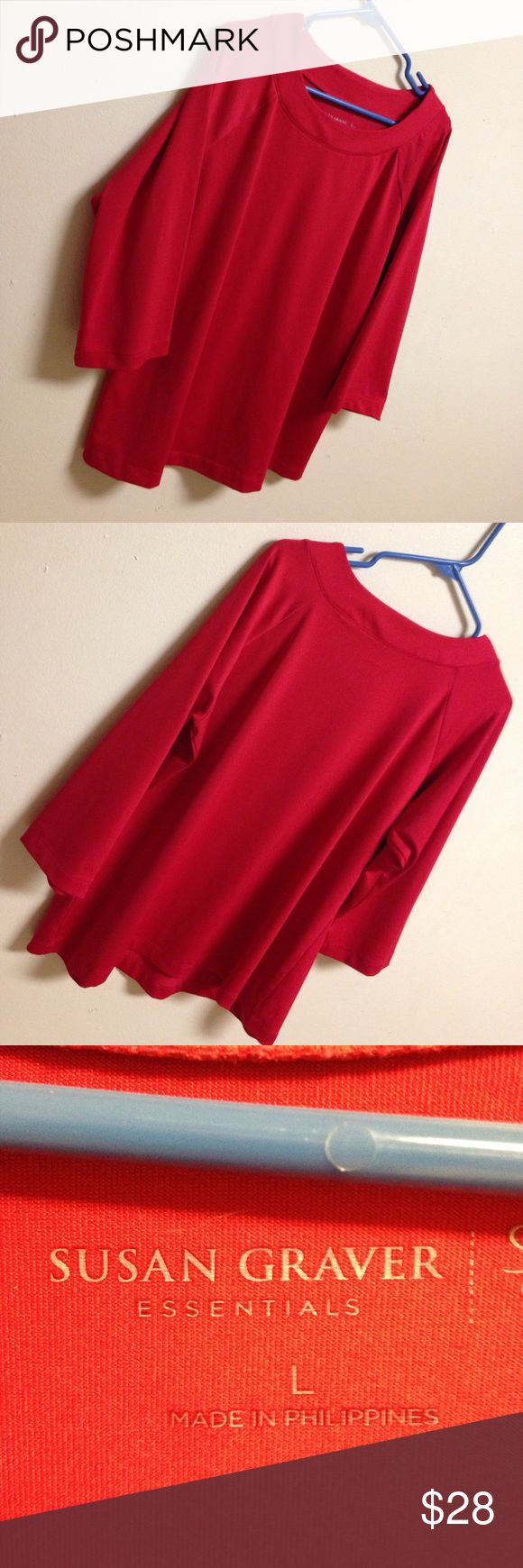 Like new Susan Gravers Women's L 3/4 sleeve Like new Red Women's L blouse by Susan Graver. Very nice and condition like new. Susan Graver Tops Blouses
