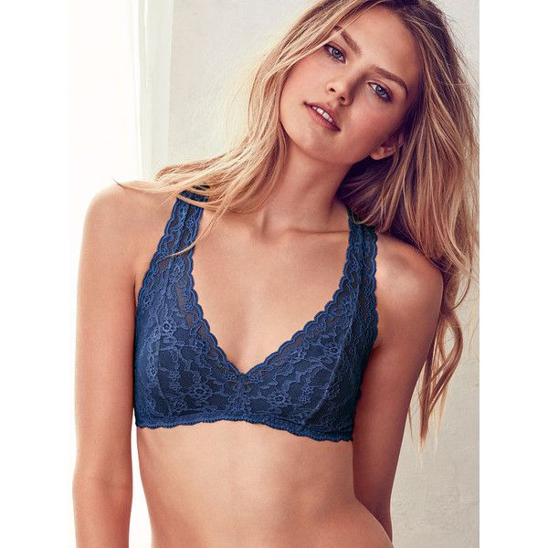 Victoria's Secret Lace Racerback Bralette ($20) ❤ liked on Polyvore featuring intimates, bras, purple, lace bra, lacy bras, victoria secret bra, lace strappy bra and wireless bra