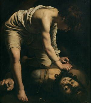 Caravaggio | David Victorious over Goliath, c.1600 | Caravaggio portrays David, not as a hero but rather as a young man with a serene aspect who has vanquished Evil thanks to his cleverness and Divine Aid. Only his clenched left fist betrays the tension of the moment. | Museo Nacional del Prado