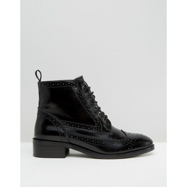 ASOS ARTISTRY Leather Lace Up Brogue Boots ($46) ❤ liked on Polyvore featuring shoes, boots, round toe lace up boots, laced boots, leather lace up boots, asos boots and leather brogue boots
