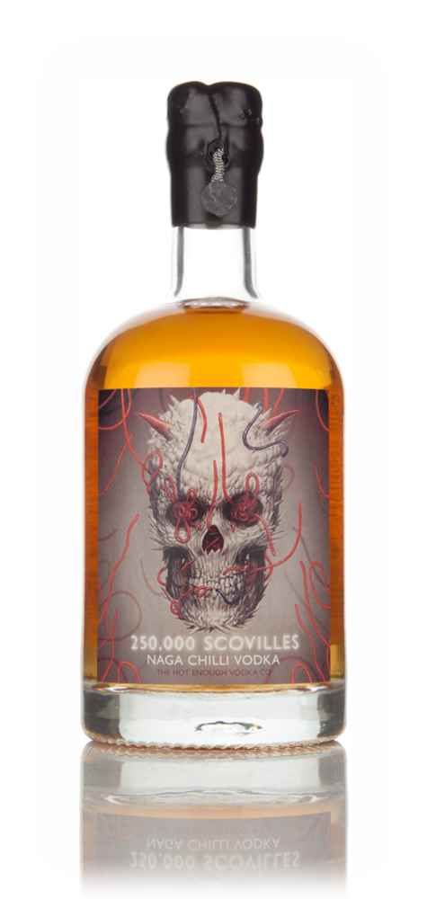 250,000 #Scovilles #Naga #Chilli Vodka 50cl - available from #Master of Malt. This vodka is made with #Naga #Jolokia chillies, steeped in grain vodka. This is NOT a vodka to be taken lightly, it has a reputation of possibly being brewed in Purgatory...#vodka #boutique vodka #spirits #chili vodka #flavoured vodka #bartenders