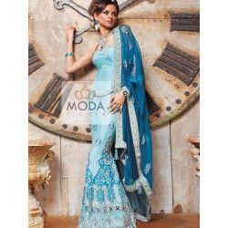 A blue and ferozi turquoise lehenga choli for Punjabi wedding