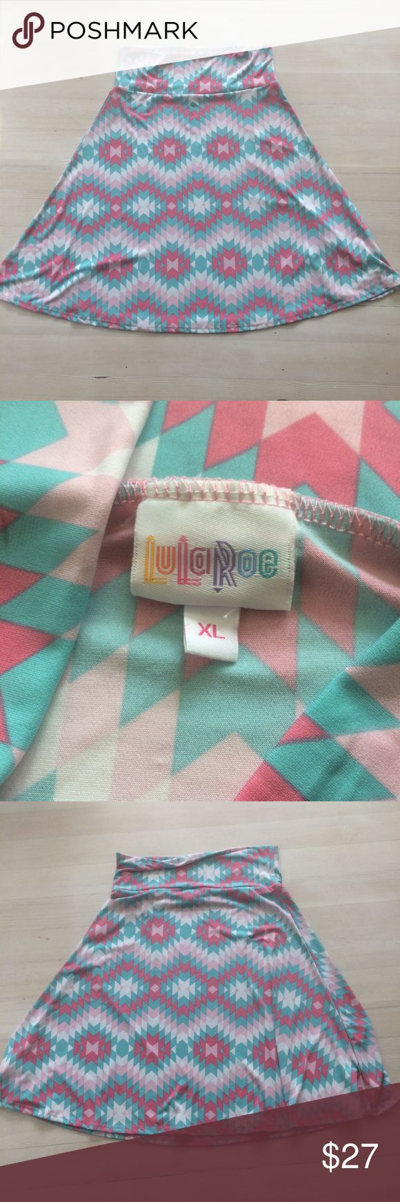Lularoe sz XL Pastel Geometric Stretchy Skirt Lularoe women's skirt. Size extra large. Pastel Geometric pattern. LuLaRoe Skirts A-Line or Full