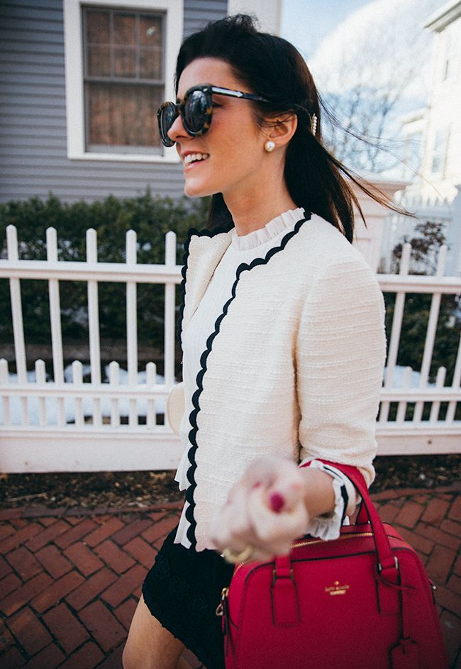 ksny Scallop blazer and kate spade Cameron Street Little Babe bag