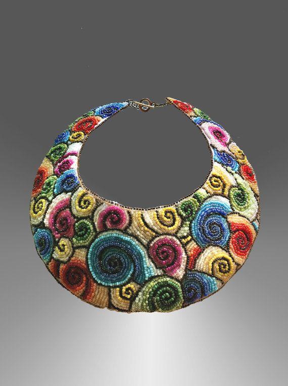 Spirals embroidered collar by SpiralDesignJewelry on Etsy, $210.00